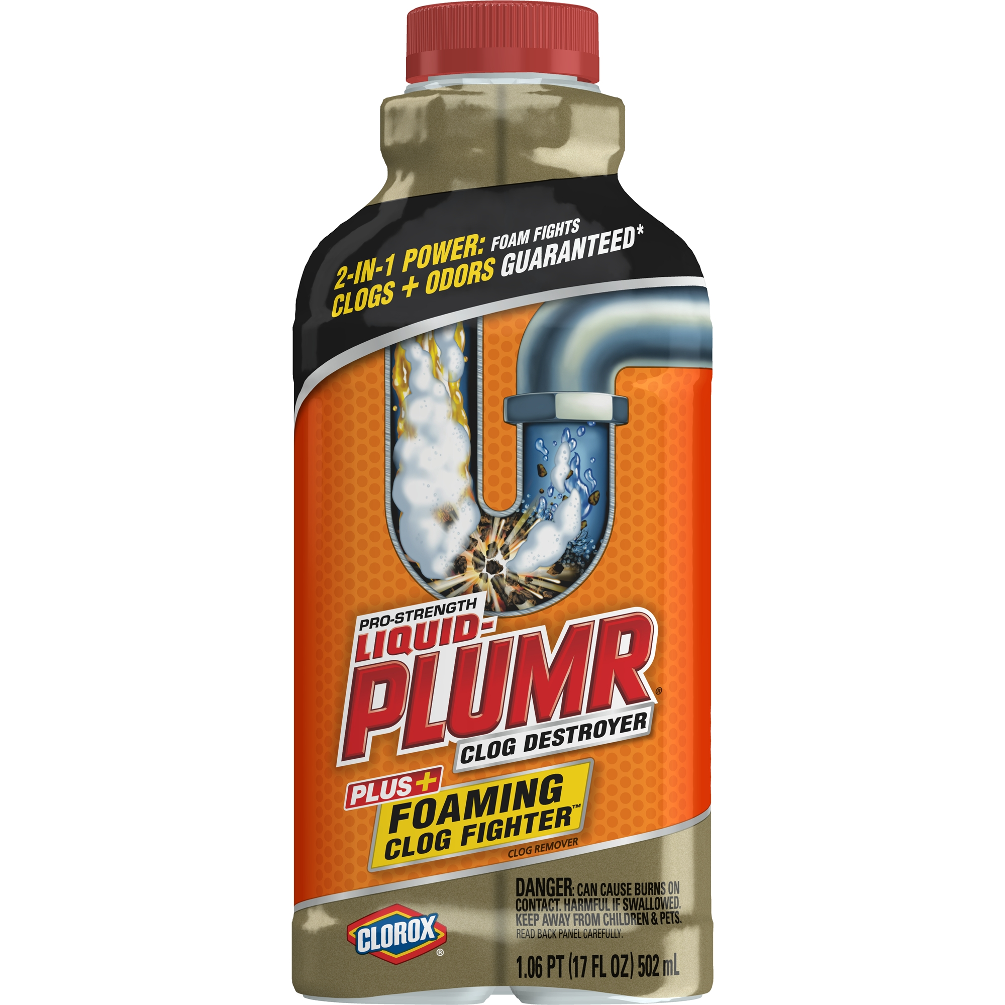 Liquid-Plumr Pro-Strength Clog Destroyer, Foaming Clog Fighter, 17 oz