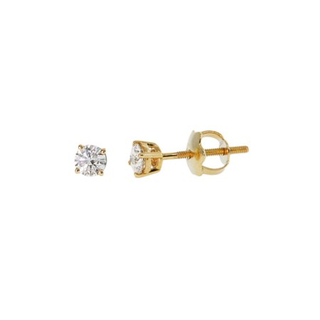 Diamond White Round Brilliant cut Prong Setting solitaire Women's Stud Earrings in 14K Gold