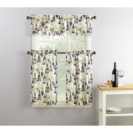 Mainstays Winery 3-Piece Kitchen Curtain and Valance Set
