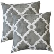FHT Premiere Home Madrid Summerland Grey 17-inch Throw Pillow - Set of 2
