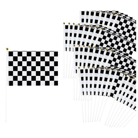 Race Car Birthday Party Supplies (Checkered Flag - 50-Pack Racing Flags on Plastic Sticks, Hand Flags for Race Car Birthday Party Favors, Black and White, 8.2 x 12)