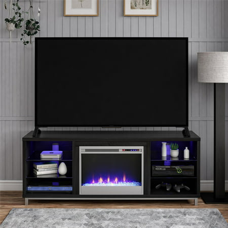 "Ameriwood Home Lumina Fireplace TV Stand for TVs up to 70"" Wide Black Oak"