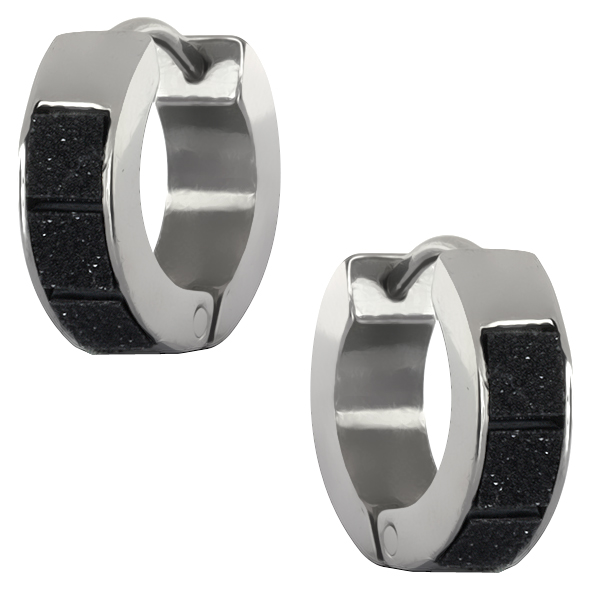 Stainless Steel Black Tiles Design Huggie Hoop Earrings 13mm Length, 4mm Width