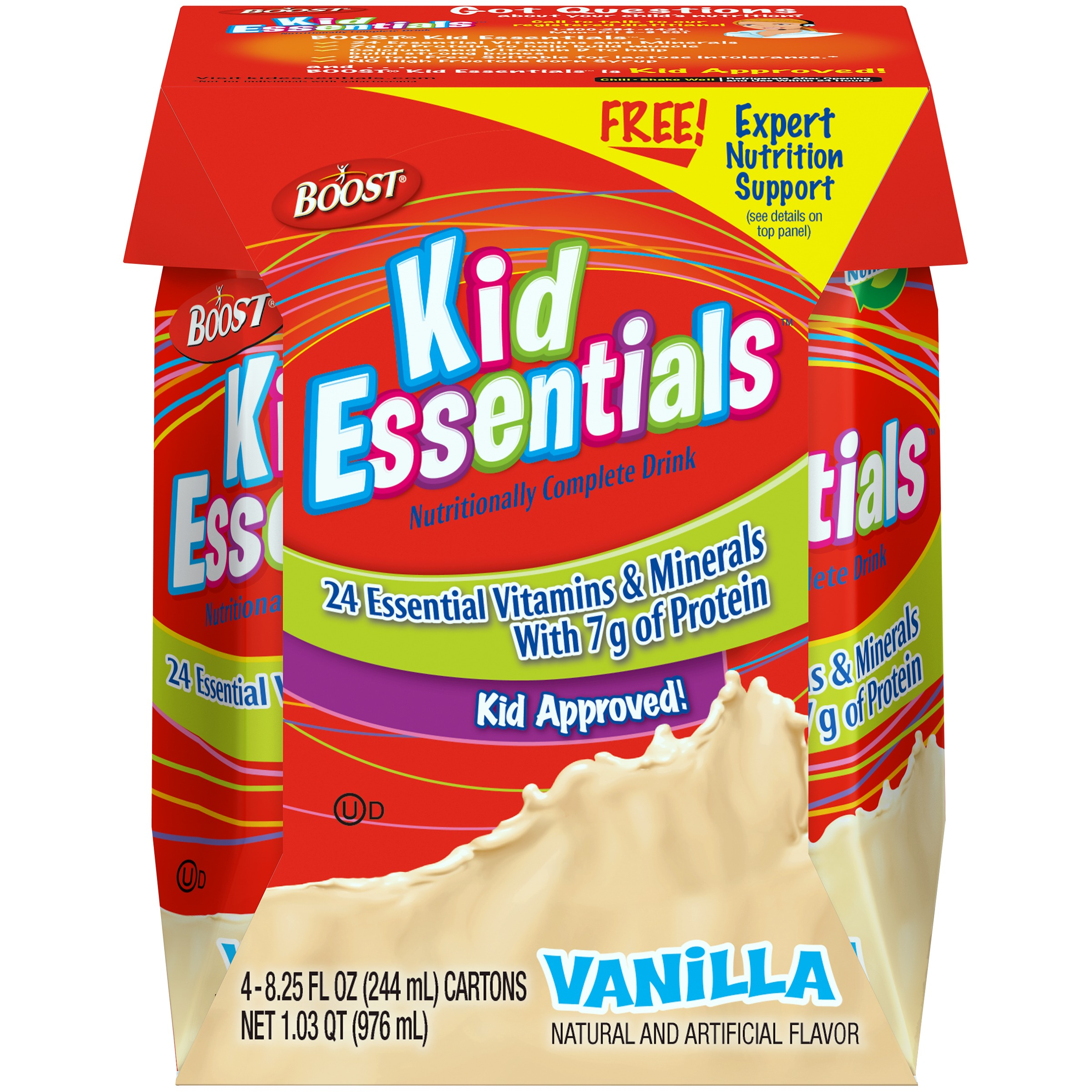Boost Kids Essentials Vanilla Nutritionally Complete Drink, 8.25 Fl oz, 4 Ct
