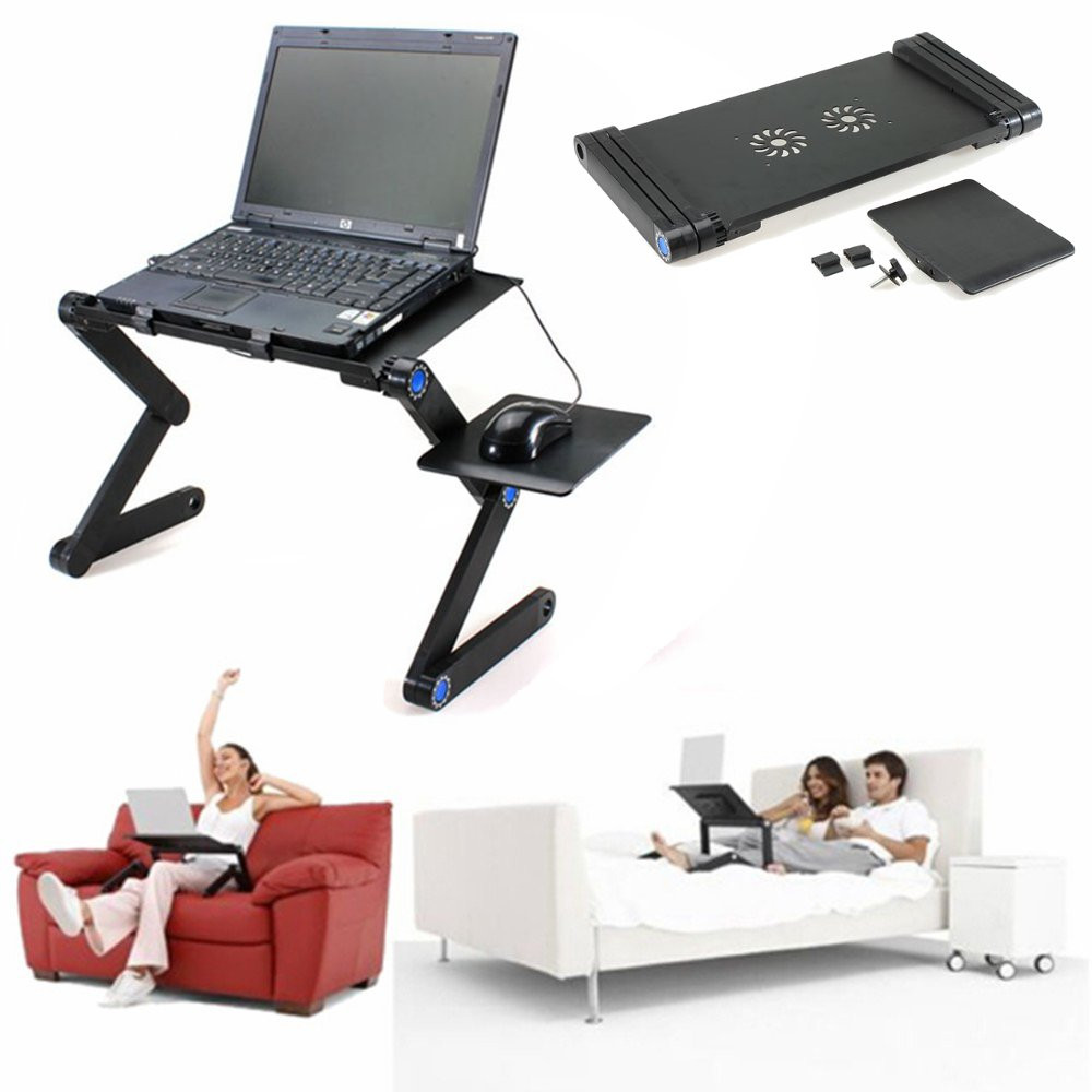 360° Foldable Laptop Desk Table Fans Stand Portable Desk Bed Sofa dormitory dorm Tray+Mouse Pad