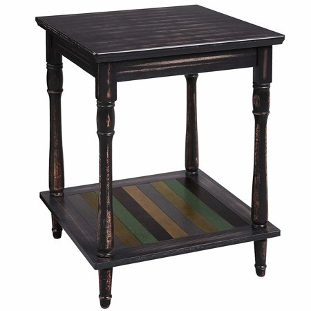 Uniquely Designed Wooden Side Table with Plank Style Bottom Shelf and Turned Legs,