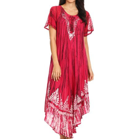Sakkas Devora Women's Maxi NightGown Caftan Kaftan Dress Tie Dye Batik & Corset - Fuchsia-navy - One Size - Gypsy Corset Dress
