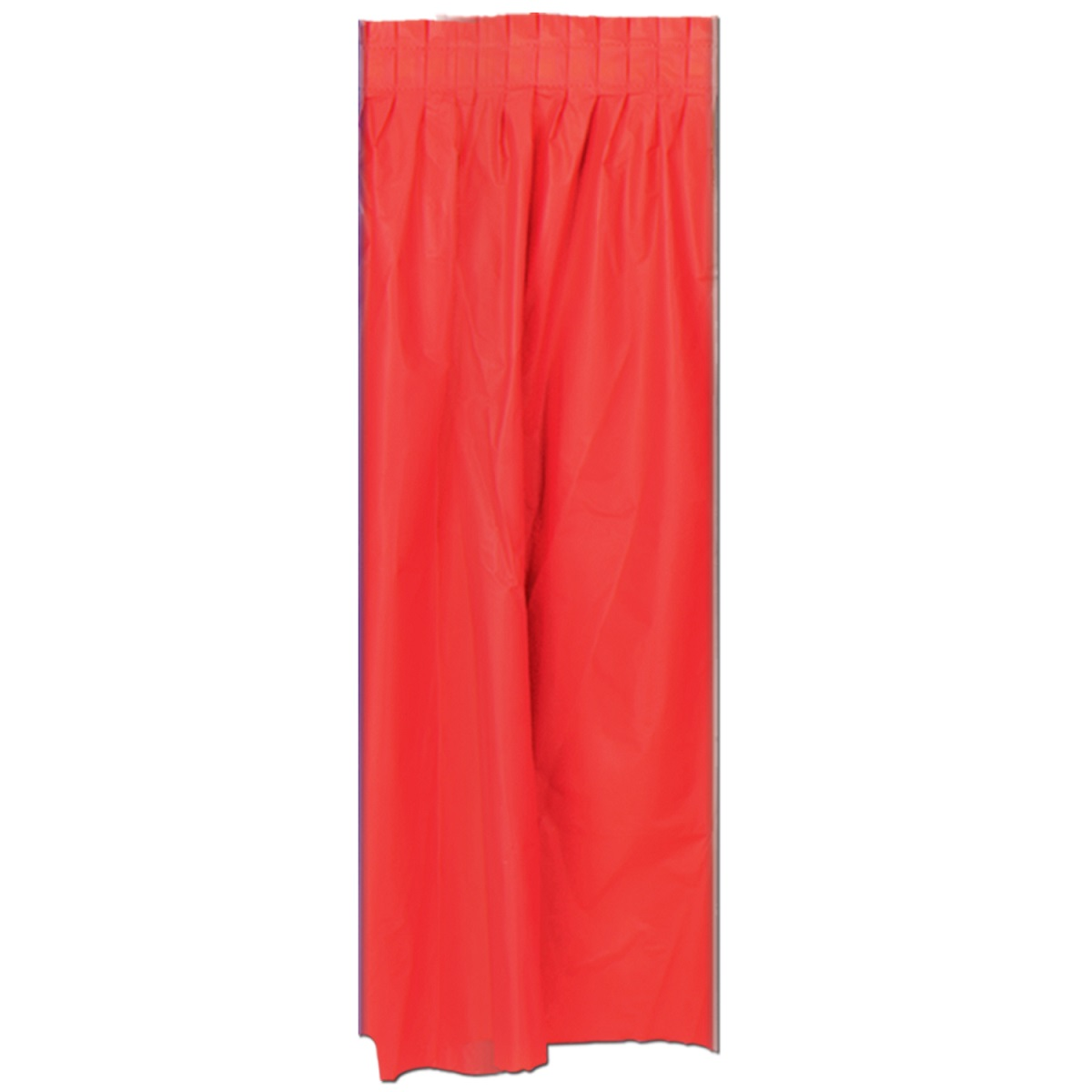 Pack of 6 Red Pleated Disposable Plastic Picnic Party Table Skirts 14'