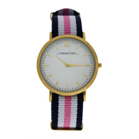 AO-08 Somand - Gold/Blue-White-Pink Nylon Strap Watch by Andreas Osten for Women - 1 Pc Watch - image 1 de 2