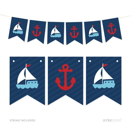 Blue Pennant Party Banner Nautical Anchor and Sailboat](Sailboat Supplies)