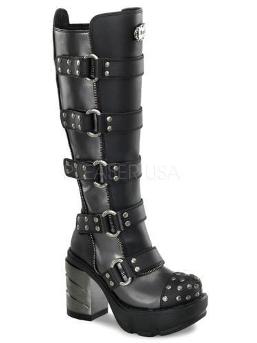 SIN302 DGY-BPU Demonia Vegan Boots Womens D.Gry-Blk Pu Size: 8 by
