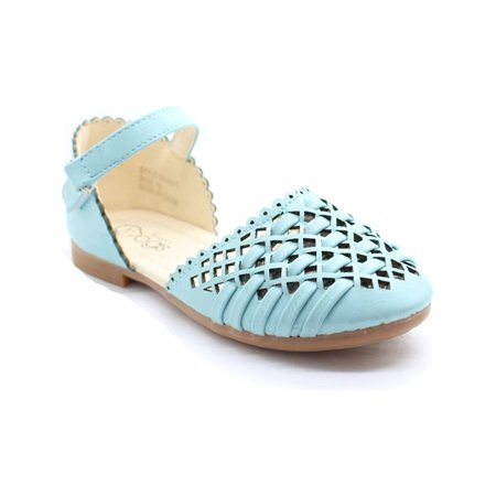 Little Girls Baby Blue Cut-Out Woven Ankle Strap Dress Shoes (Blue Girls Dress Shoes)