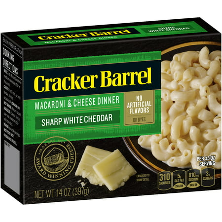 (3 Pack) Cracker Barrel Macaroni & Cheese Dinner Sharp White Cheddar, 14 oz Box
