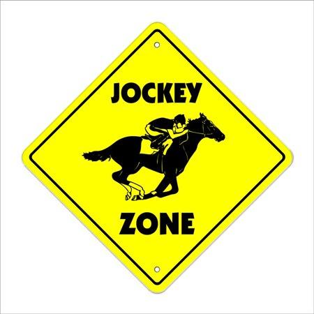Plastic Lawn Jockey (Jockey Crossing Sign Zone Xing | Indoor/Outdoor | 14