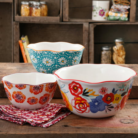- The Pioneer Woman Flea Market Wavy Nesting Bowl Set, 3 Piece