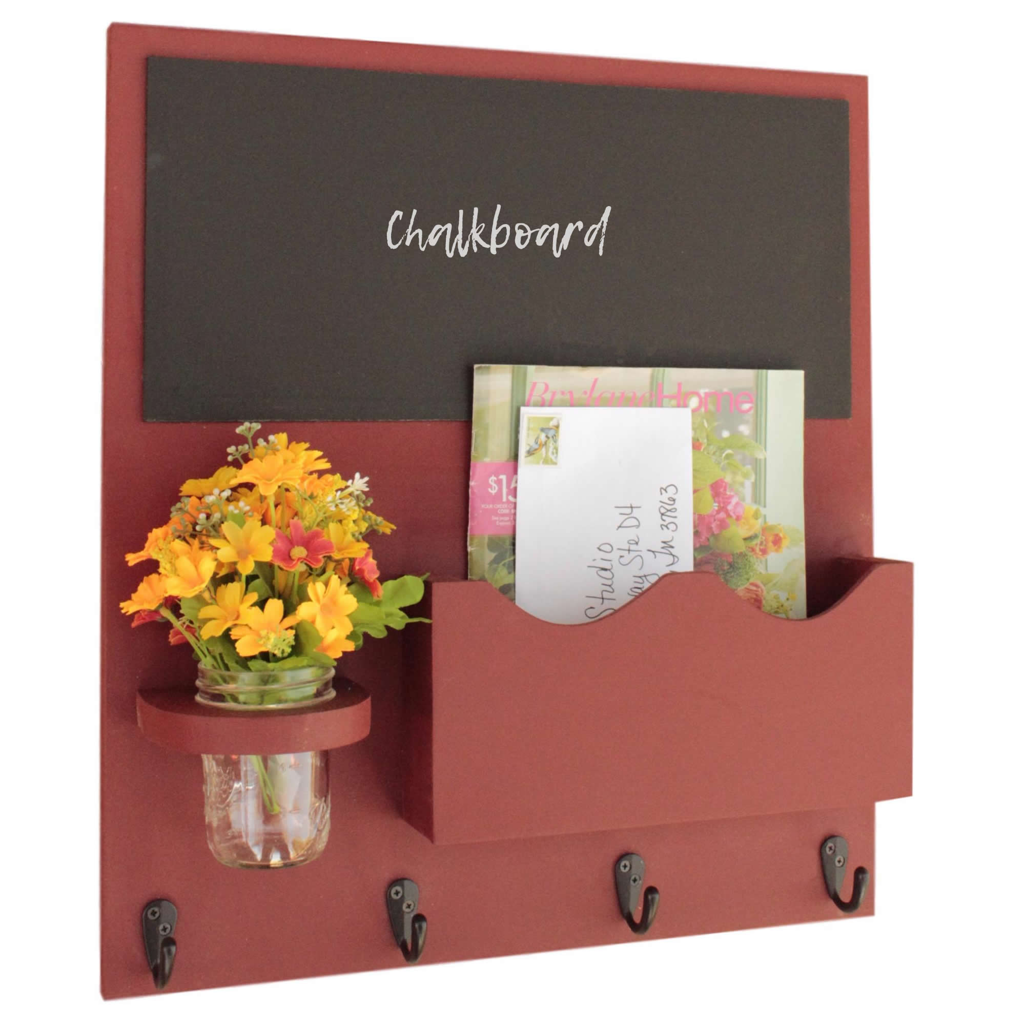 Mail Organizer with Chalkboard, One Large Magazine / Mail Slot, Key Hooks & Mason Jar