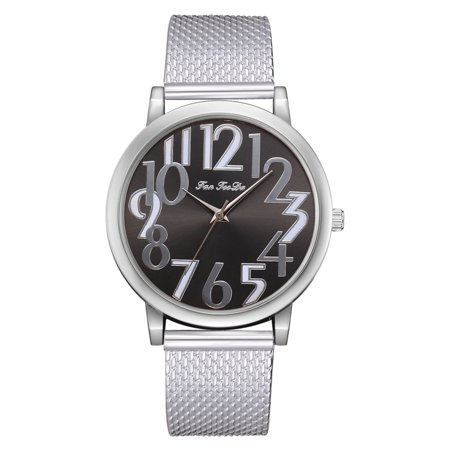 Clear Digit Dial Design Women Girl Watch Bracelet Quartz Alloy Round Watches Wristwatch Gifts Bracelet Style Wrist Watch