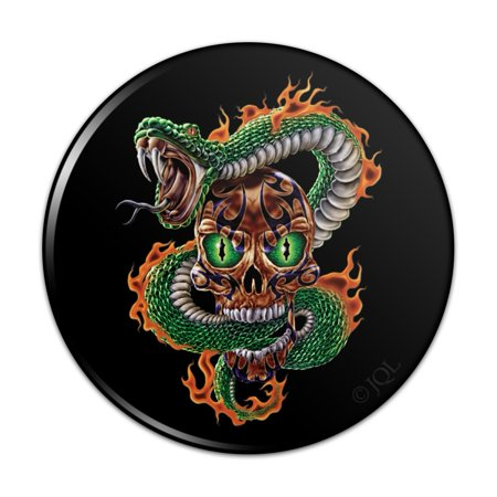 Fire Snake and Skull Biker Motorcycle Flames Racing Pinback Button Pin
