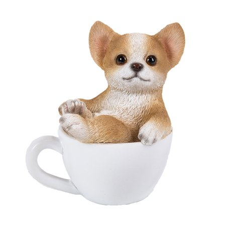 Pacific Giftware Chihuahua Puppy Adorable Mini Teacup Pet Pals Puppy Collectible Figurine 3.25 Inches Own Pet Figurines