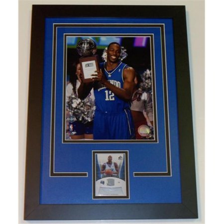 (Dwight Howard Unsigned 8X10 Inch Photo And Game Used Jersey Card Custom Frame)