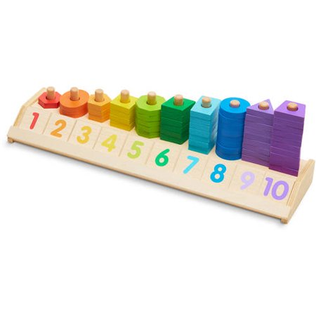 Melissa   Doug Counting Shape Stacker  Wooden Educational Toy With 55 Shapes And 10 Number Tiles