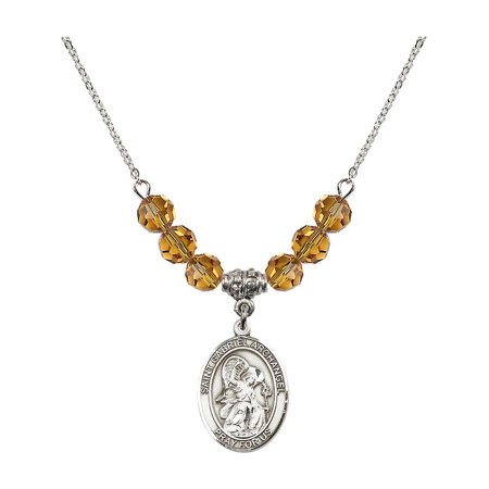 18-Inch Rhodium Plated Necklace with 6mm Yellow November Birth Month Stone Beads and Saint Gabriel the Archangel Charm