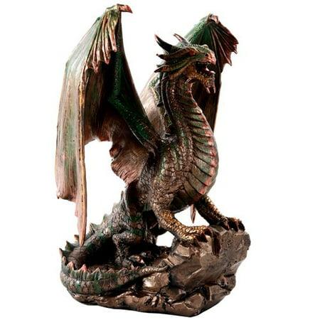 Bronzite Dragon Standing on Rock Statue Collectible Figurine 9 Inch ()