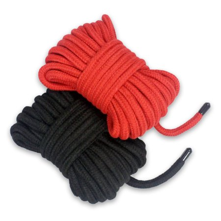 Soft Cotton Rope Extra Long - All Purpose Knot Tying Natural & Durable Braided Cotton - Pack of 2 x 11m (36 Foot) Black and Red