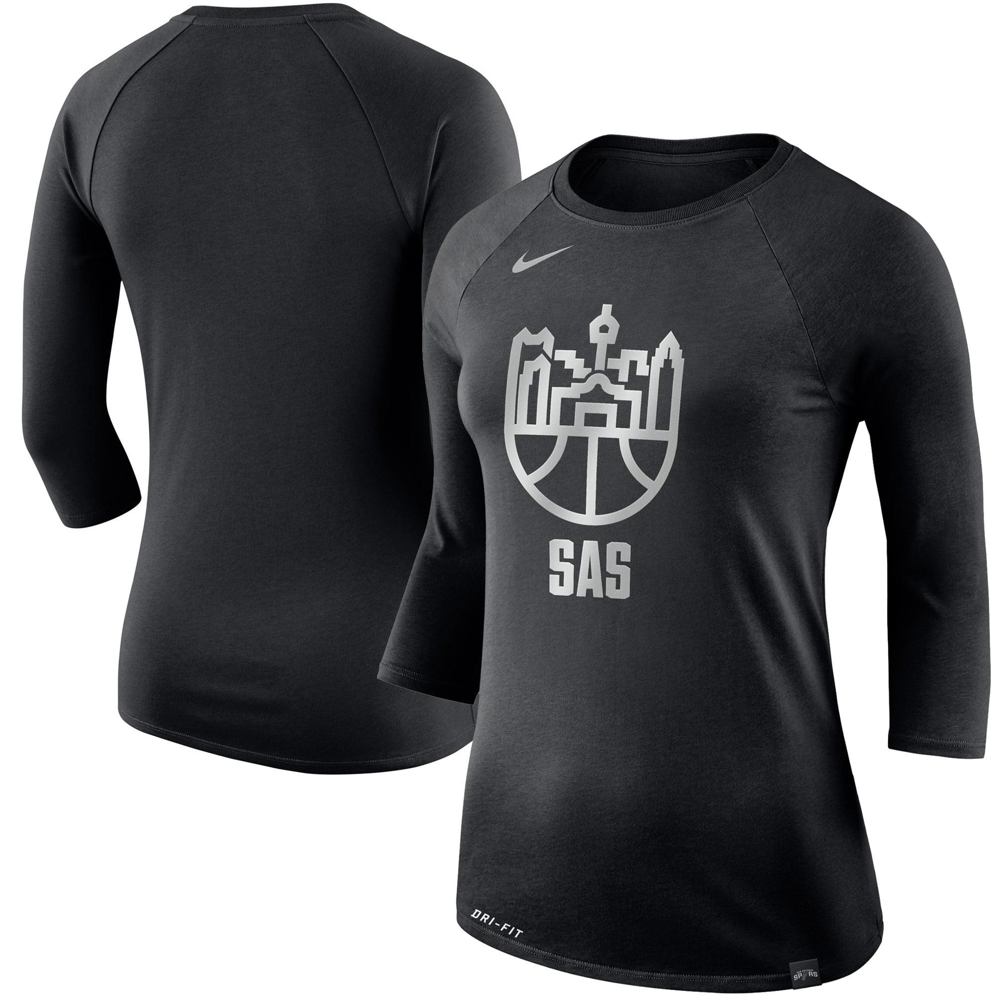 San Antonio Spurs Nike Women's Cityscape 3/4-Length Sleeve T-Shirt - Black