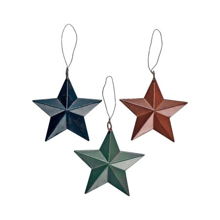 TIN BARN STAR ORNAMENTS - Home Decor - 12 Pieces Rusty Tin Star Ornament