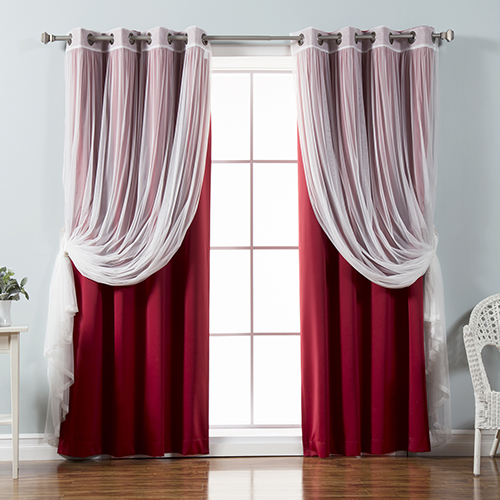 Cardinal Red 52 x 84 In. Sheer Lace and Blackout Window Treatments, Set of Four
