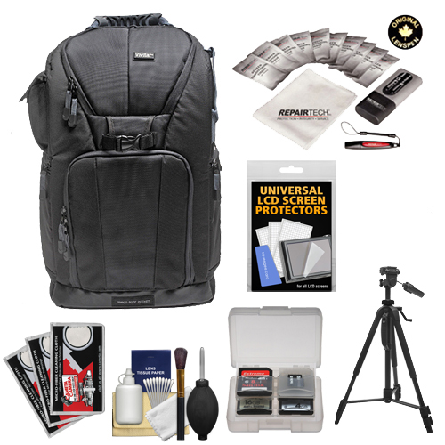"Vivitar Series One Digital SLR Camera/Laptop Sling Backpack - Large (Black) Holds Most 17'"" Laptops with 58"" Tripod + Cleaning Kits for Canon, Nikon, Olympus, Panasonic, Fuji & Sony Alpha Cameras"