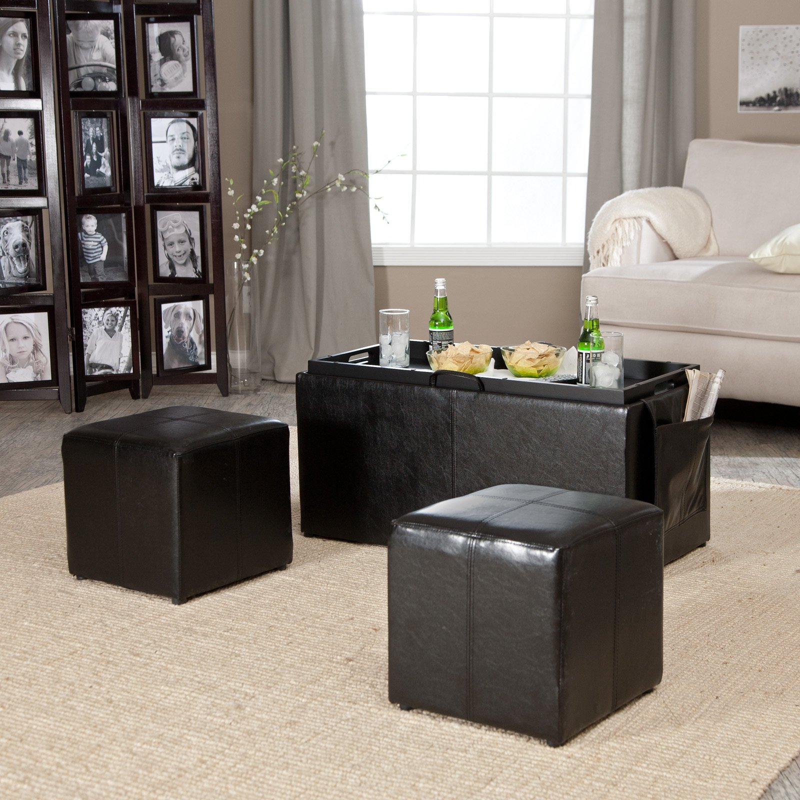 Hartley Coffee Table Storage Ottoman with TraySide Ottomans