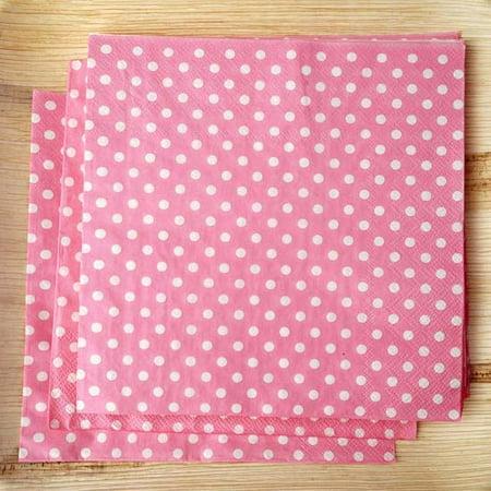 Efavormart Polka Dots Restuarant Party Beverage Paper Napkins - Pink/White - 20 PCS