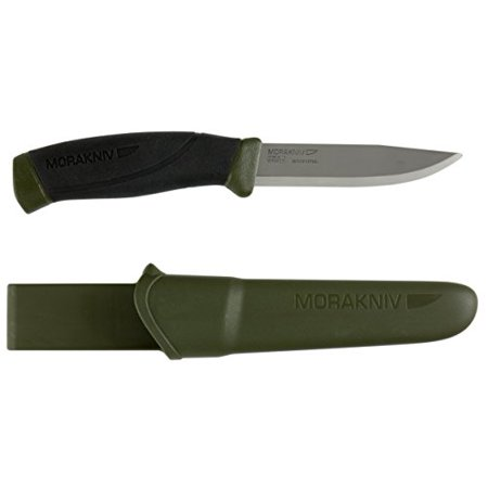 Morakniv Companion Fixed Blade Outdoor Knife with Carbon Steel Blade, 4.1-Inch, Military