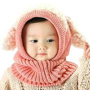 iHomey Baby Girls Boys Toddler Winter Hat Scarf Set Cutest Earflap Hood Warm Knit Hat Scarves with Ears Snow Neck Warmer Cap