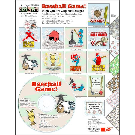 ScrapSMART Baseball Game Clip-Art CD-ROM, Colorful Illustrations for Scrapbook, Craft, Sewing