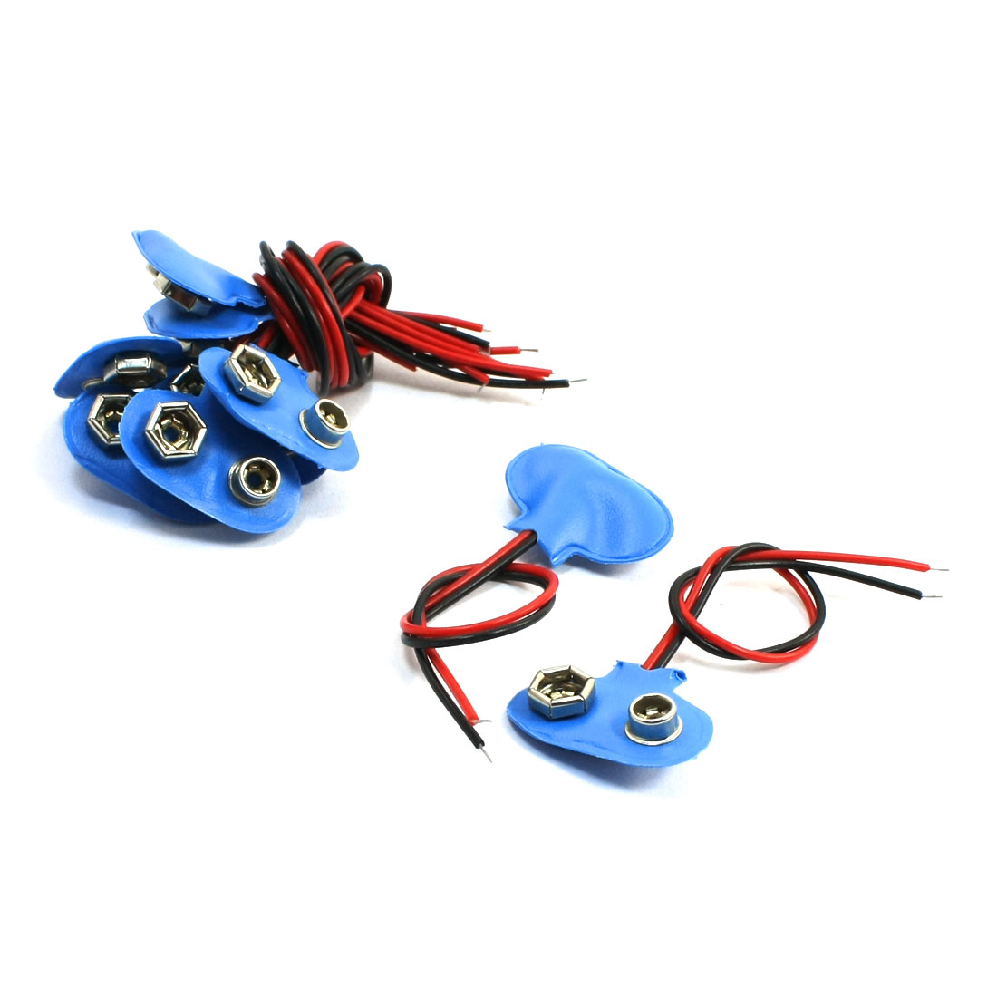 10Pcs Blue Faux Leather Shell 2 Wired 9V Battery Clip Connector Leads
