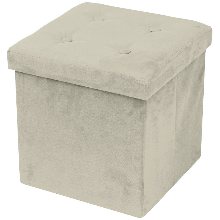Sorbus Faux Suede Storage Ottoman Cube/Foldable/Collapsible with Button Lid Cover