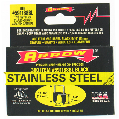"Arrow Fastener Co. 591188BLSS 1/4"" X 5/16"" Black T59 Stainless Steel Staples"