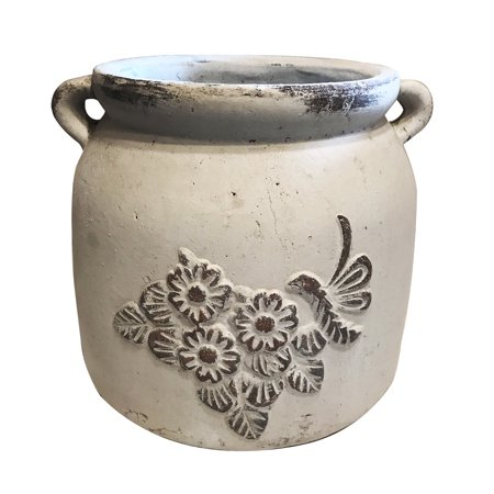 Heavy Hand Pressed Ancient Stressed Round Flower Pot or Planter with Loop Handles 2 colors available, Vintage white (2 Handle Pot)