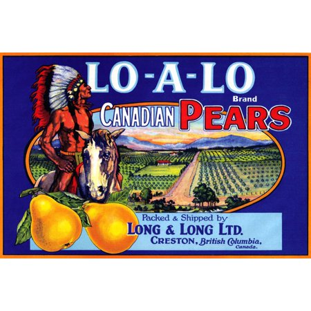 Fruit crate label for the Lo-A-Lo Brand Canadian Pears packed in Creston British Colombia Poster Print by unknown