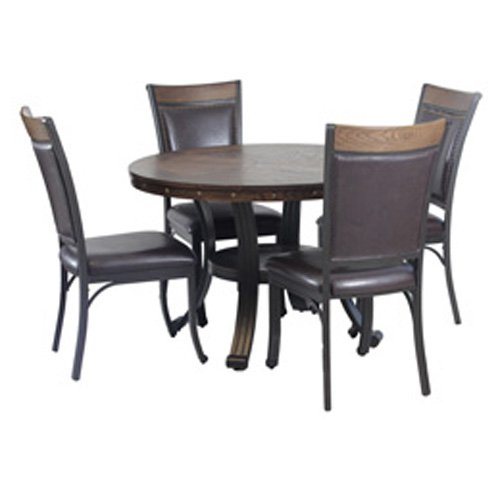 Powell Franklin 5 Piece Dining Table Set, Dark Brown