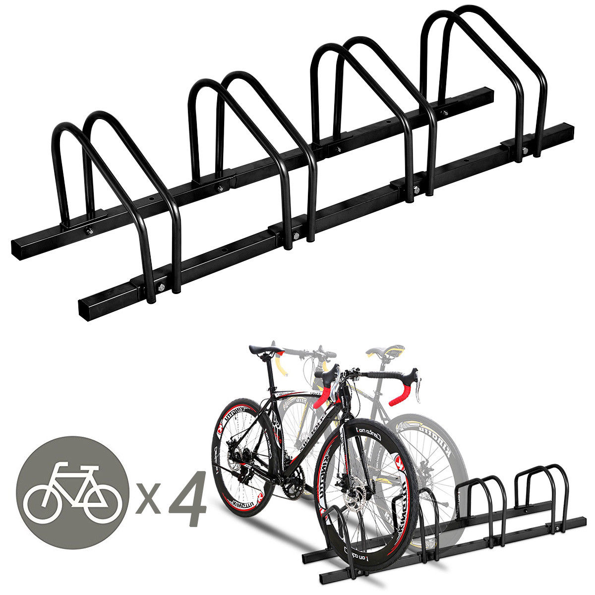 Gymax 4 Bike Bicycle Stand Parking Garage Storage Cycling Rack Black - image 10 of 10