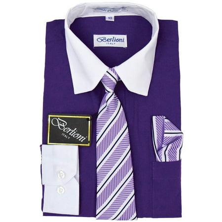 Berlioni Kids Boys Two Tone Long Sleeve Dress Shirt Set