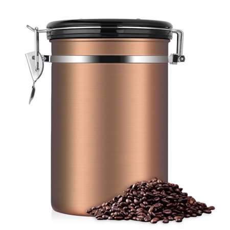 1.8L Coffee Storage Container - Large Capacity Airtight Coffee Jar - Stainless Steel Kitchen Storage Canister for Coffee Beans, Tea and Dry Goods, Double Reinforced Stainless Steel Ring Container