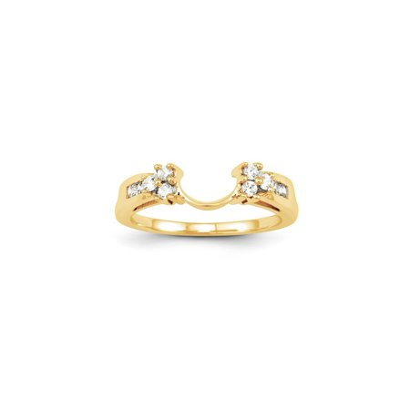 14K yellow Gold Solitaire Diamond Enhancer Ring Guard Wrap (0.25CT,H-SI2)
