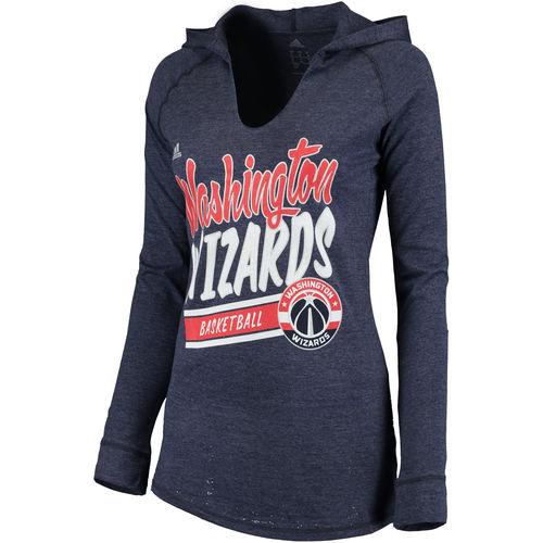 Women's adidas Navy Washington Wizards Stripe Slant Long Sleeve Hooded T-Shirt by Adidas