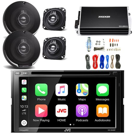 jvc 6 8 inch lcd touchscreen double din bluetooth car stereo receiver with  kenwood 4 inch 3way