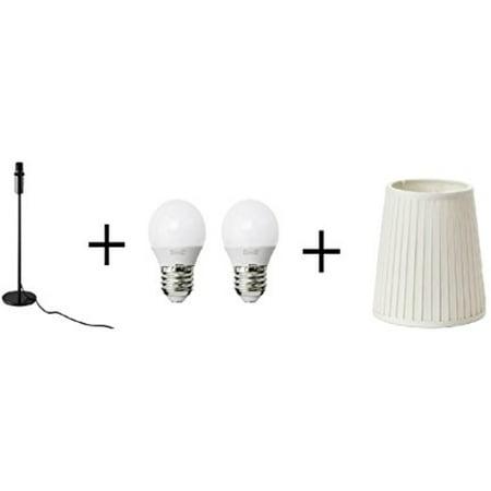Ikea Table Lamp Base Black Shade Off White Led Bulb